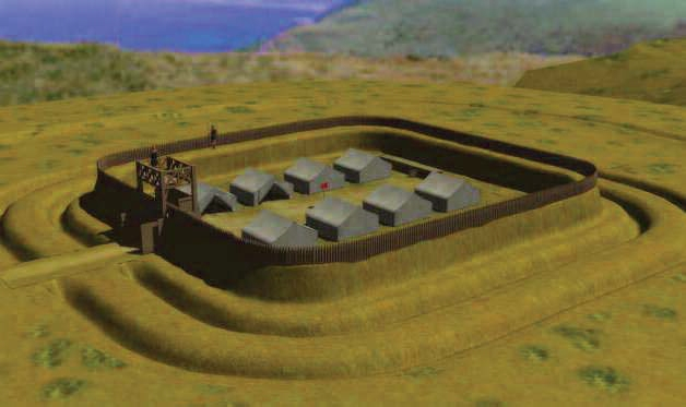 Image of Old Burrow Roman fortlet as it may have looked around 60 AD (Reconstruction by Bill Bennett)